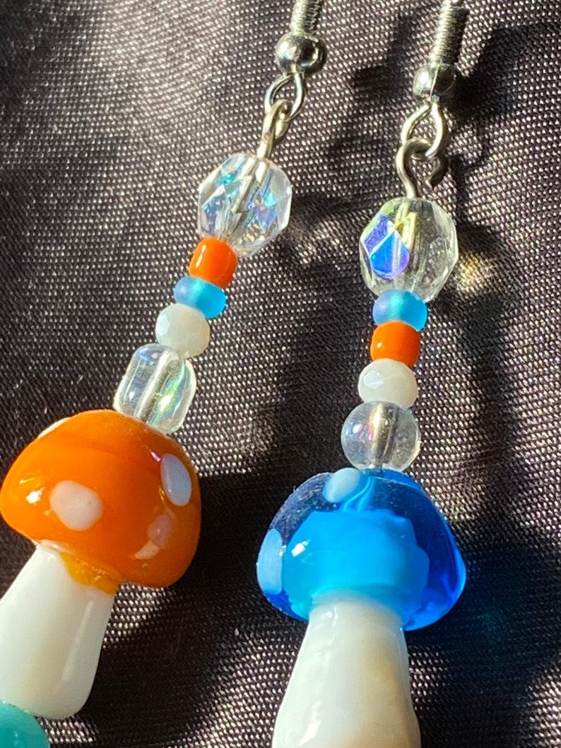 Orange /& Blue glass mushroom earrings