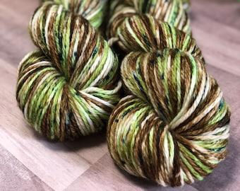 EVERGREEN SERENE - Hand dyed yarn, aran weight yarn, speckled yarn, superwash merino, cashmere yarn, green yarn, brown yarn