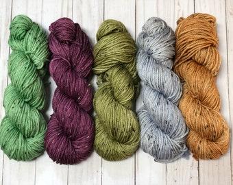 Hand dyed yarn, indie dyed yarn, tweed yarn, superwash merino yarn, wool yarn, aran weight