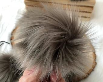 ThreadHead knits Co - SMOKE - faux fur pom poms