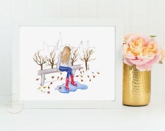Fall Scene Painting Autumn Modern Wall Decor Watercolor Sketch Of Girl Wellies Rain Boots Fashion Drawing Thanksgiving Gift For Mom