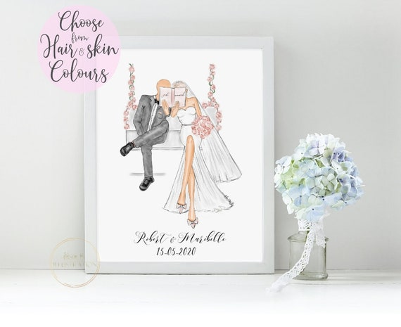 Calendario Fitri 2020.Personalized Gift For Bride And Groom Hand Sketched Just Married Couple Add Names Date Of Wedding Semi Customized With Hair And Skin
