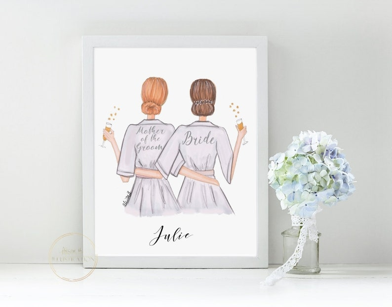 Personalized Mother of the bride print, Add Names, Keepsake gift for Mom,  Mama, Mum, Mam, Bride and Mother of the groom art, illustration