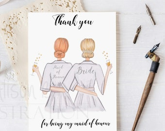 Thank you card for Bridesmaid, maid of honour, personalised with name and skin colour, bridal party robes sketch, semi custom, hand made