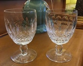 Two Waterford Short Stem Colleen Water Goblets Signed