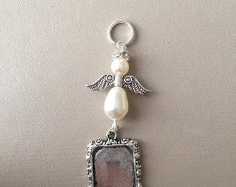 Bridal Bouquet Angel Photo Frame Memory Charm Wedding Handmade Swarovski Beads