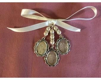 Bridal Bouquet Triple Oval Photo Frame Memory Charm Wedding Handmade Swarovski