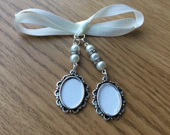 Bridal Bouquet Double Oval Photo Frame Memory Charm Wedding Handmade Swarovski Beads