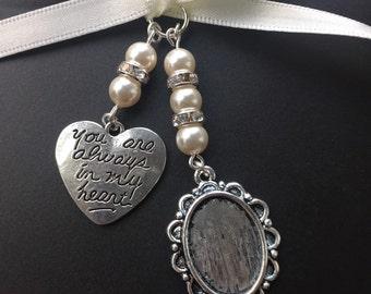 Bridal Bouquet Oval Photo Frame and Heart Memory Charm Wedding Handmade Swarovski