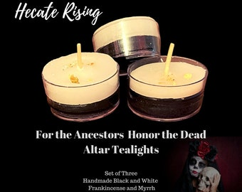 For the Ancestors - Honor the Dead Altar Tealights - Dual Black and White Tealight Candles