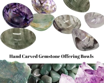 Gorgeous Hand Carved Gemstone Offering Bowls