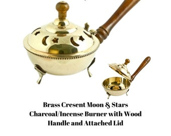 """Brass Crescent Moons & Stars Charcoal/Incense Burner with Wood Handle and Attached Lid - 9"""""""