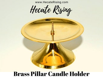 Brass Pillar Candle Holder ( With Spike on Base)