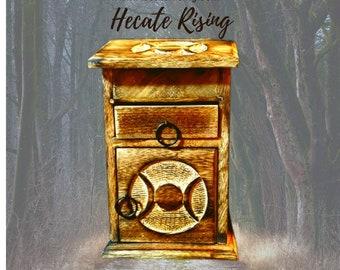 Triple Moon Altar Wood Storage Box - Hand Carved  - Almirah Wood Box