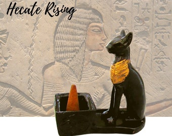 Egyptian Cat Goddess Bastet Cone Incense Burner - Bast- Bastet Cat