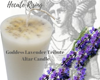 Goddess Lavender Tribute Altar Candle - Lavender Pillar Candle - Hecate Pillar Candle - Hecate Devotional Candle