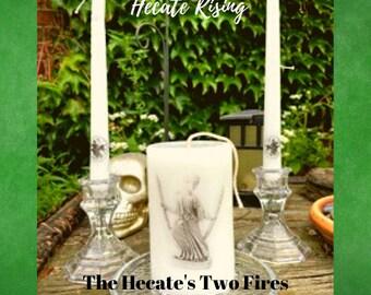 Hecate Vintage Glass Altar Candle Set - Altar Candle and Two Taper Candles -  Vintage Glass Candle Holders Included
