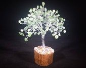 Natural GREEN JADE Gemstone Chip Tree With 150 Stones Crystal Tree Of Life