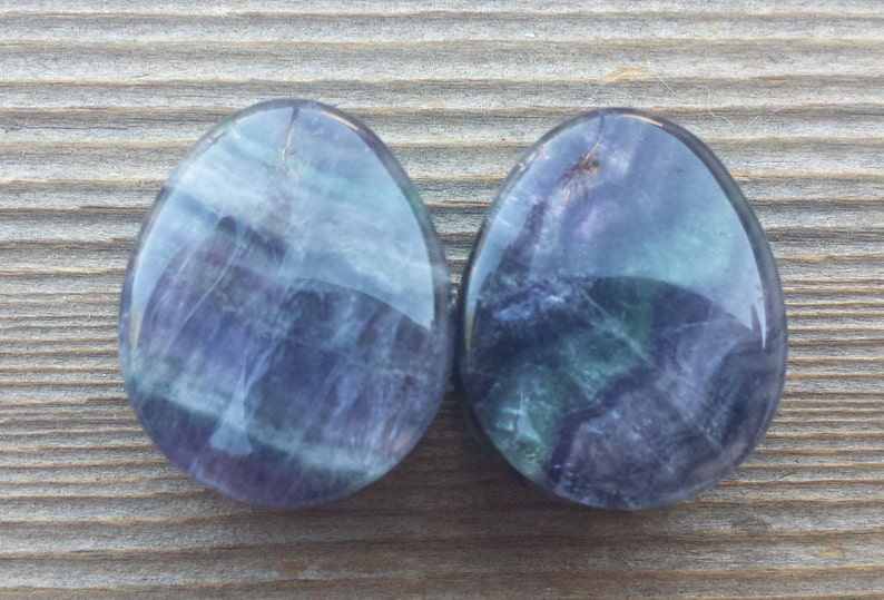 PAIR OF REAL BLUE LACE AGATE FLAT PLUGS GAUGES BODY JEWELRY DOUBLE FLARED RARE