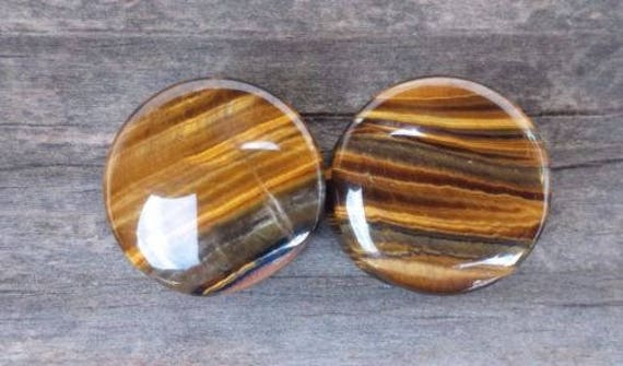 PAIR OF REAL TIGER EYE FLAT PLUGS GAUGES BODY JEWELRY DOUBLE FLARED