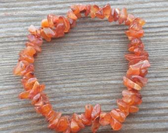 CARNELIAN Natural Stone Gemstone Stretchy Chip Bracelet