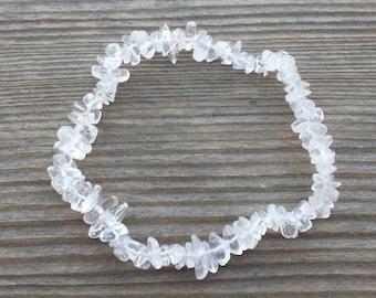 CLEAR QUARTZ Natural Stone Gemstone Stretchy Chip Bracelet
