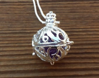 ROUND FILIGREE CAGE Pendant With Amethyst Sphere Crystal Pendant