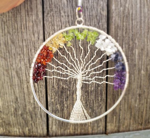 NATURAL RAINBOW MOONSTONE TREE OF LIFE LARGE SUNCATCHER DECORATION GEMSTONE