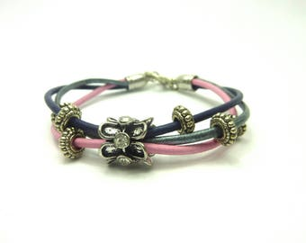 Leather Bracelet three purple pink silver leather and rhinestone beads