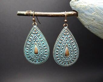 Ethnic earrings drop oxidized metal