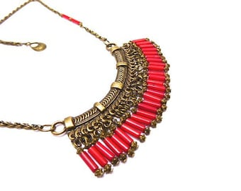 Ethnic necklace coral tube beads