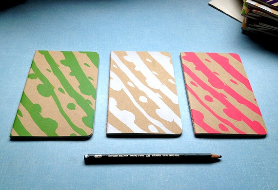 Screen printed A6 Moleskine Notebook with abstract design