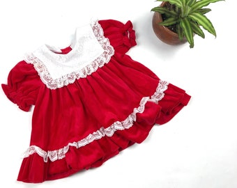 12b7e2a5bf4 Vintage toddler girl 80s red velvet dress