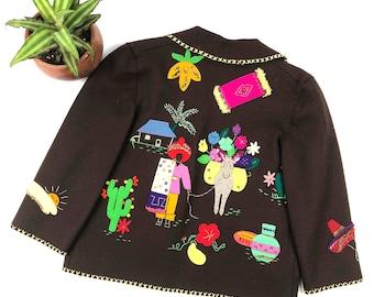 3524ac9b17 Vintage kids Mexican tourist felted wool jacket, kids embroidered jacket,  mexico tourist jacket, Brown felt wool jacket, size 8Y