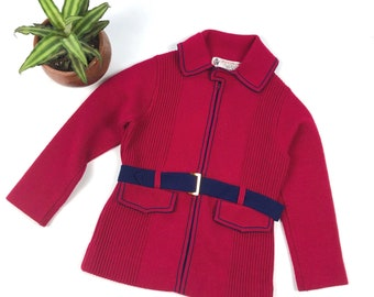 21981b54a115 Vintage kids 60's knit burgundy sweater cardigan, Piccolo for Bergdorf  Goodman kids brand sweater jacket, Size 5Y