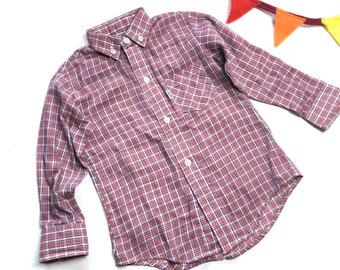 fb34a817 Vintage kids Levi's plaid shirt, child size 70's button down Levis shirt,  Western wear Levis kids long sleeve plaid shirt, Size 4Y