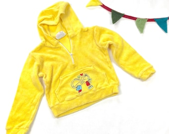 455f8efba034d Vintage kids terry cloth hooded jacket, 70s bright yellow terry jacket,  cotton beach jacket, Size 2T