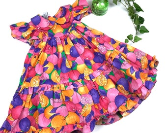 4555b9852e3 Vintage girl s 80s Cuties by Judy fruit print dress
