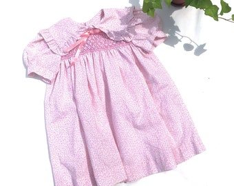 bafd1f40382e Vintage kids Polly Flinders pink floral smocked dress, vintage hand smocked  short sleeve dress, Polly Flinders, Size 4Y