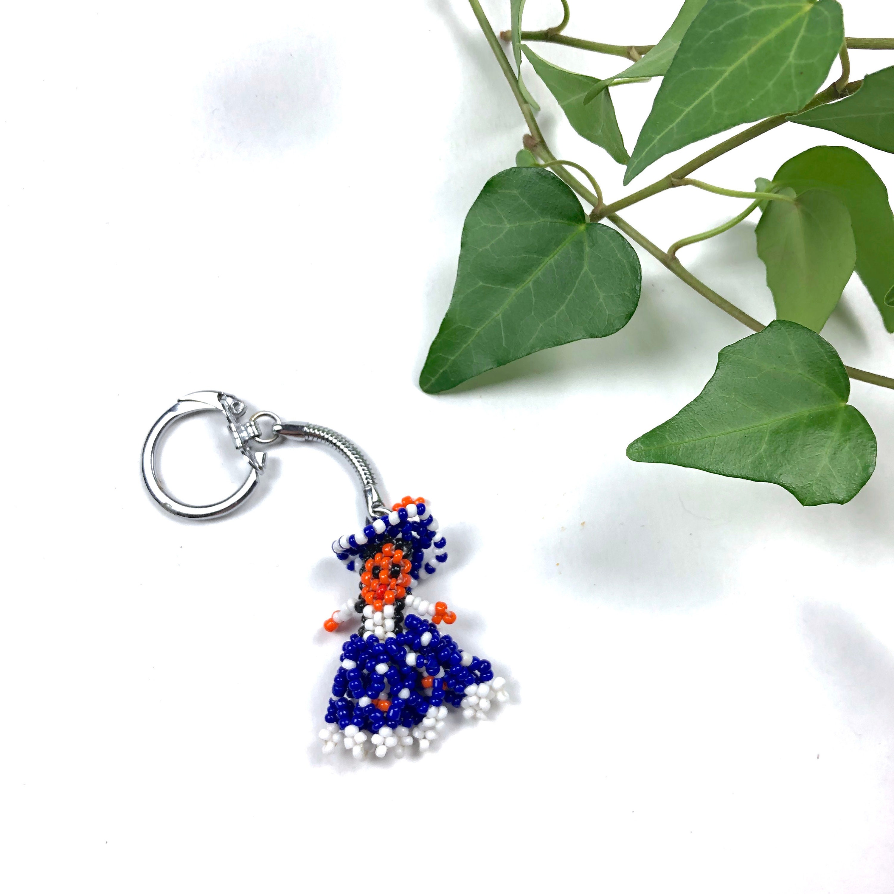 Vintage beaded Native Indian keychain Vintage Mexican beaded  f1c629251