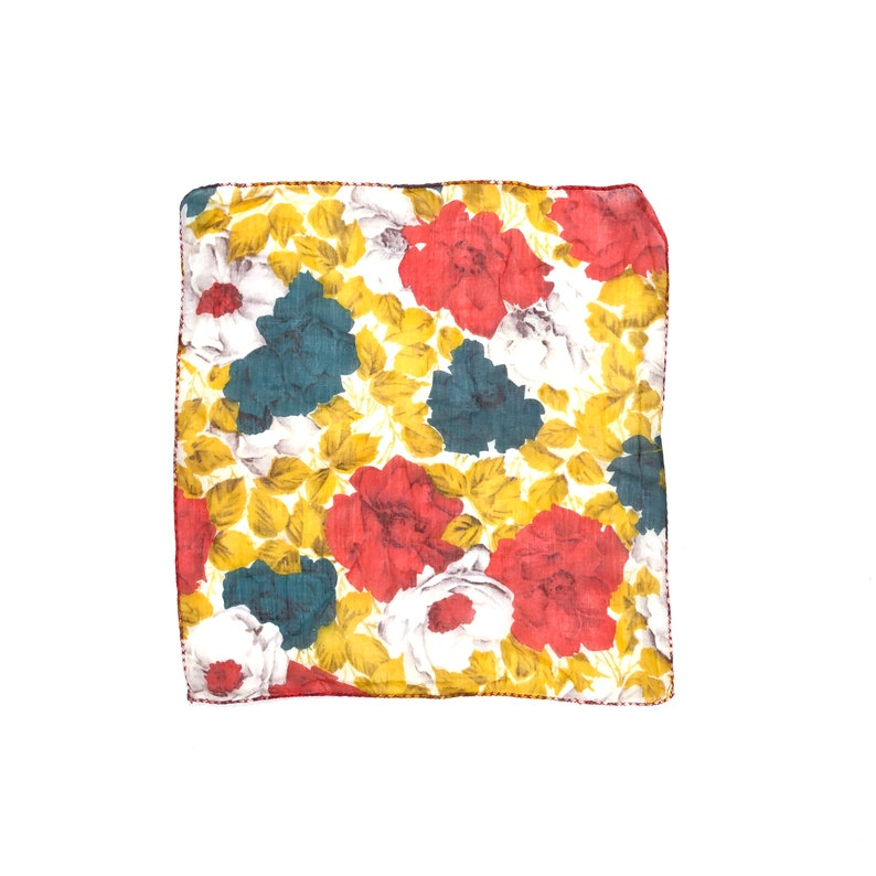 square Handkerchief Vintage floral handkerchief hand sewn hem fall florals hankie