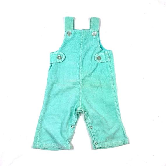 Vtg 70's mint green corduroy overalls, Vintage bab