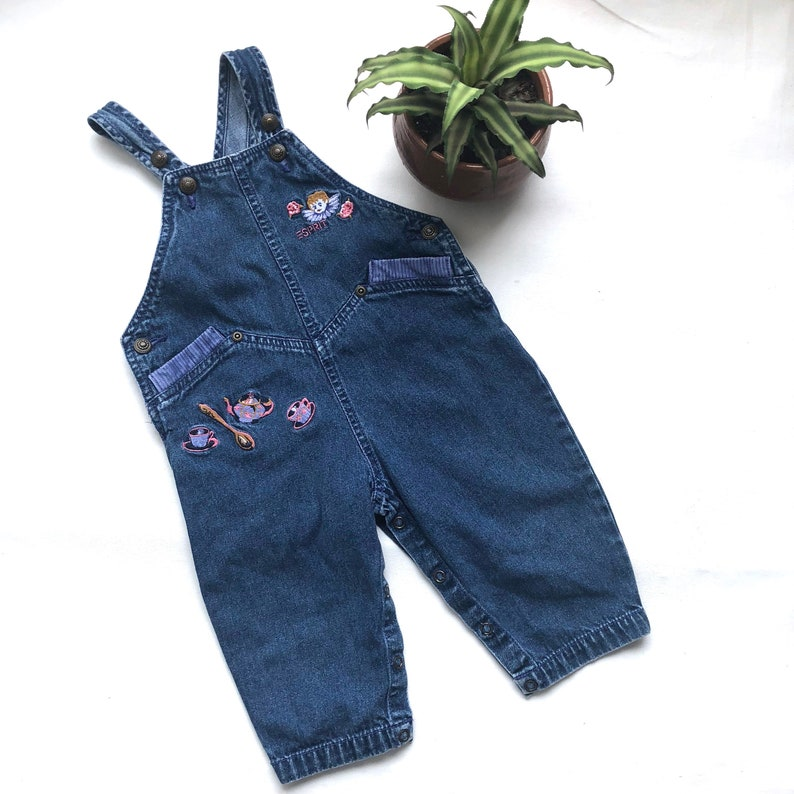 51ecf59a1 Vintage Kids 80s Esprit girls denim overalls, Dark denim Esprit brand  overalls with tea party theme, Size 12M