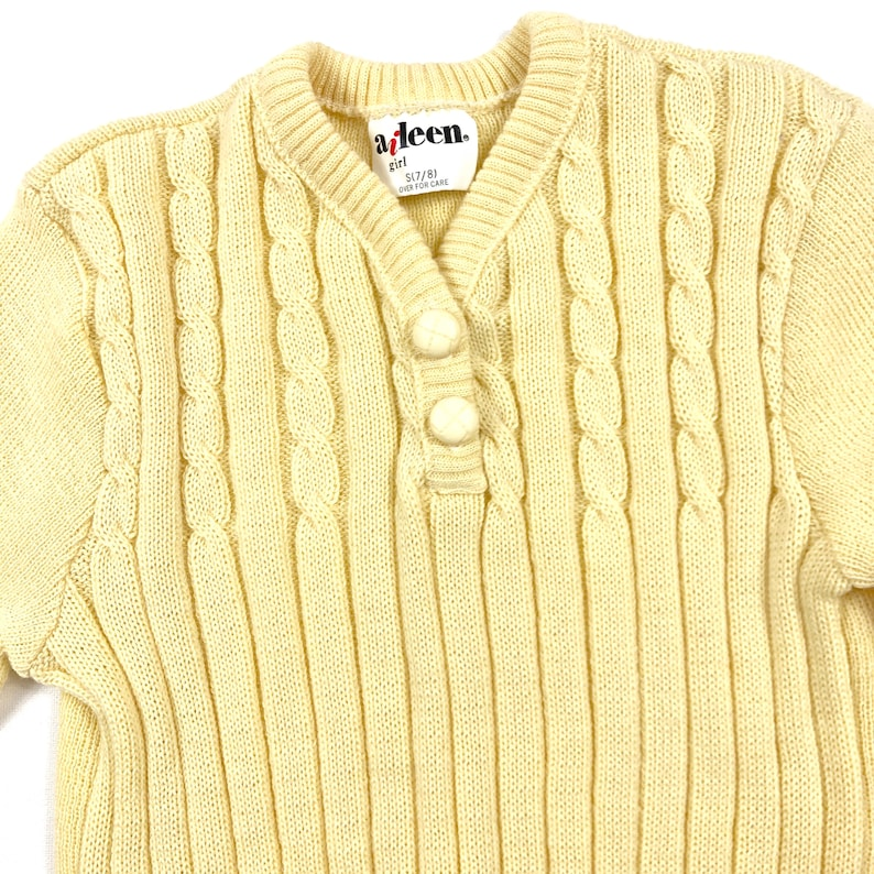 Size 78Y Pale yellow knit sweater Vintage kids girl/'s ribbed sweater Girls cable knit long sleeve sweater