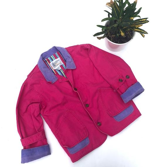 beac0bc8e Vintage kids London Fog bright pink barn jacket Girls Bright