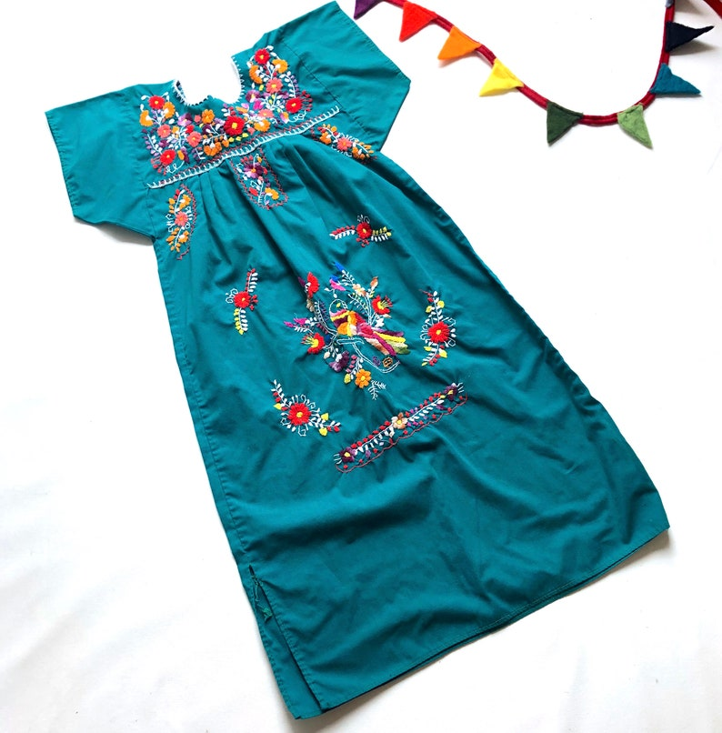 Mexican Girls Kid Dress Green //w Multi Colored Embroidered flowers 1T-3T