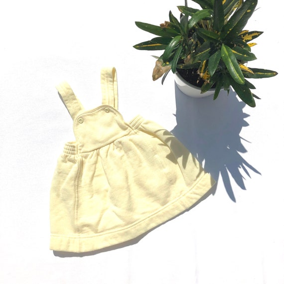 Vintage girl's 80's french terry pastel yellow jum