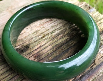 Canadian Nephrite Jade Bangle - 54mm - Green Jade - Jade Bracelet