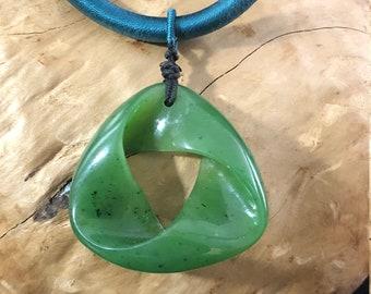 Canadian Nephrite Jade Mobius Pendant - Green Jade - Jade Necklace