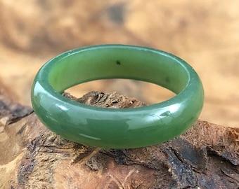 Canadian Nephrite Jade Narrow Band  - Ring - Jade Ring - Natural Jade Ring